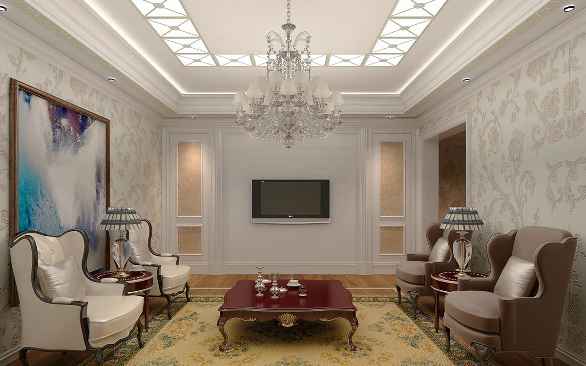 简欧式别墅客厅天花板吊顶装修效果图 搭配水晶棚顶装饰灯增加空间美